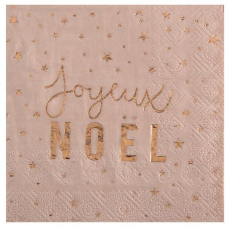serviette metalisee joyeux noel blush