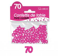 confettis de table 70 ans fuchsia