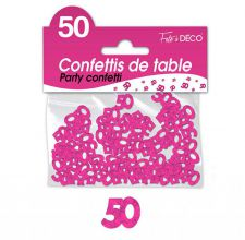 confettis de table 50 ans fuchsia