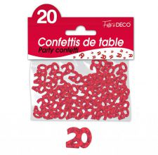 confettis de table 20 ans rouge