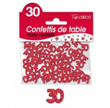 confettis de table 30 ans rouge