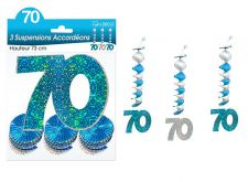 suspension accordeons hologramme 70 bleu