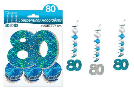 suspension accordeons hologramme 80 bleu