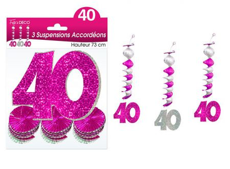 suspension hologramme accordeons 40 rose