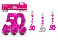 suspension hologramme accordeons 50 rose