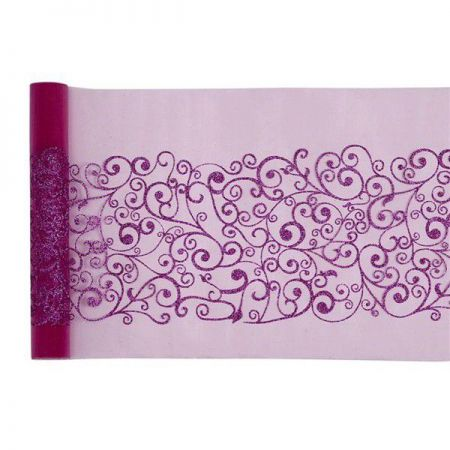 chemin de table arabesque fuschia 28cmx5m anniversaire communion mariage fete feudartifice cotillons