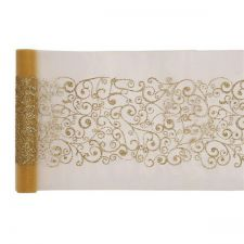 chemin de table arabesque or 28cmx5m anniversaire communion mariage fete feudartifice cotillons