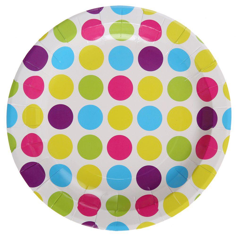 Tout pour la d co de f te assiette pois multicolore for Set de table multicolore