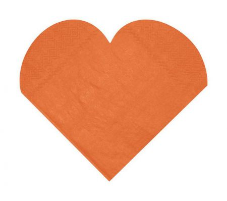 Serviette Coeur Orange