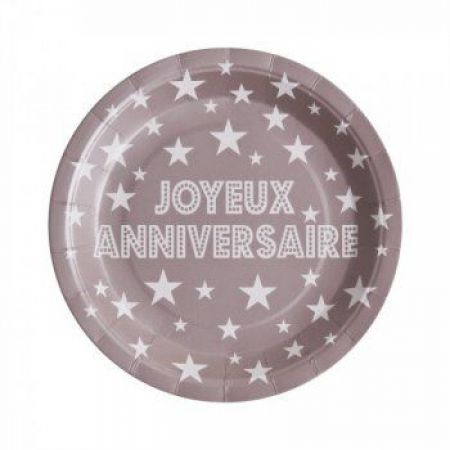 Assiette jetable Anniversaire Taupe