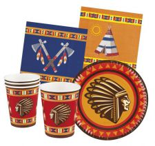 b44114 kit de table indians gobelets assiettes serviettes top fete anniversaire decoration pas cher