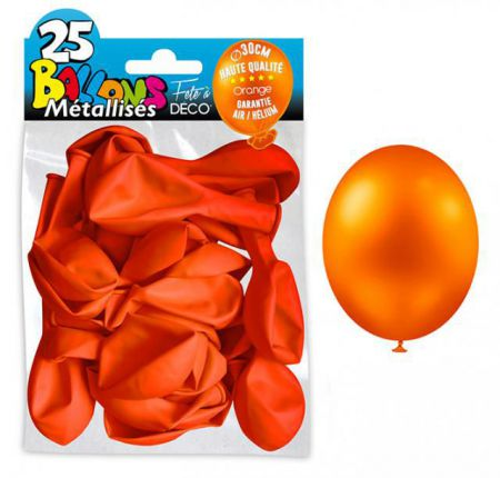25 Ballons métal Orange